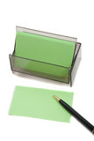Green Business (blank) card on White with pen Royalty Free Stock Photography