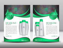 Green business brochure flyer design layout template in A4 size. Magazine ads cosmetics catalog, Poster, newsletter, advertisement, leaflet, annual report Royalty Free Stock Image