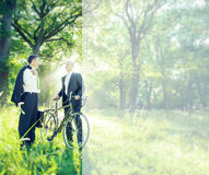Green Business Businessmen Talking Environment Concept.  royalty free stock photography