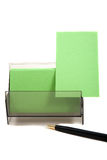 Green business card in a box (with space for text) Stock Image