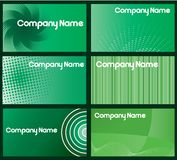 Green Business Card Designs. A set of six green business cards designs Royalty Free Stock Photo