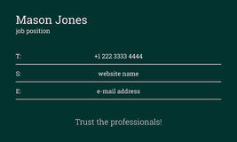 Green business card template. Info on the lines Royalty Free Stock Photos