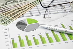 Green business chart and dollar royalty free stock photos