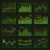 Green Business Charts and Graphics Set. Vector. Illustration Royalty Free Stock Photo