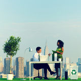 Green Business Commuters in the City Concept royalty free stock photo