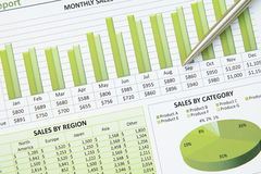 Green Business Financial Chart Graph Stock Image