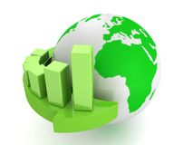 Green business graph on arrow around earth globe. 3d Stock Image