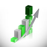 Green business graph and arrow illustration. Design over white Stock Photography