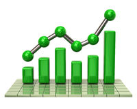 Green business graph and chart. 3d illustration of green business graph and chart Stock Images