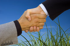 Green business handshake Stock Images