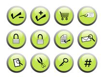 Green business icon buttons Stock Image