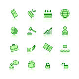 Green business icons. On the white background Royalty Free Stock Photography