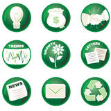 Green Business Icons. Shiny Green Business Icons for the Environmentally Conscious Stock Image