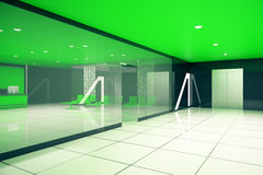 Green business interior side. Luxurious green business interior. Side view. 3D Rendering Royalty Free Stock Photo