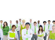 Green Business Meeting on White Background Stock Photo