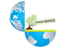 Green business in open earth. Isolated on white Royalty Free Stock Image