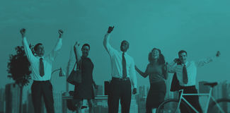 Green Business People Celebrating Successful Concept Royalty Free Stock Photography