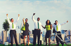 Green Business People Celebrating Successful Concept Stock Photography
