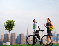 Green Business People in the City.  Stock Images