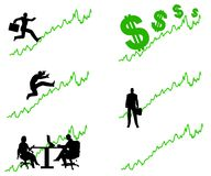 Green Business Profits Going Up. An illustration featuring a graph or stock chart lines going into the green with various silhouettes to represent investing royalty free illustration