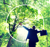 Green Business Success Happiness Forest Freedom Concept Stock Photo