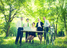Green Business Team in the Park royalty free stock photo