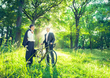 Green Business Travel in the Park Stock Image