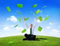 Green Businessman Celebrate on the Hill Stock Images