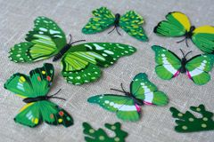 Green butterflies decorative. On a natural background Stock Photo