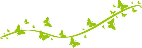 Green butterflies for greeting cards. Green butterflies with green ribbons for greeting cards and other kind of cards Vector Illustration