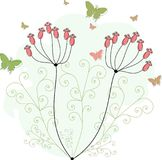 Green butterflies for greeting cards. Green butterflies with purple flowers and grasses for greeting cards and other kind of cards Vector Illustration