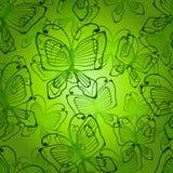 Green butterflies seamless patten Stock Images
