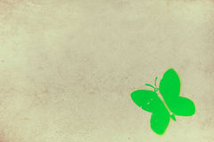 Green butterfly on concrete wall Royalty Free Stock Photos