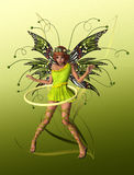 Green Butterfly Fae. A cute fairy with wings, wreath and hula-hoop stock illustration