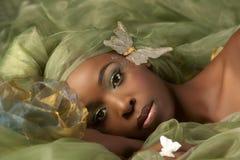 Green butterfly fairy woman