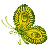 Green butterfly. Hand drawn, , illustration in Ukrainian folk style Stock Photography
