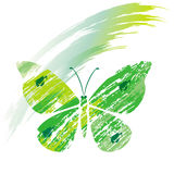 Green butterfly from line brushes Royalty Free Stock Photos