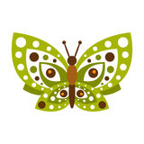 Green butterfly with open wings vector Illustration. Isolated on a white background Royalty Free Stock Photo