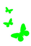 Green butterfly painting isolated on white background. Green butterflies painting isolated on white background stock image