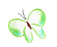 Green butterfly simple illustration. Green butterfly illustration on white Royalty Free Stock Photos