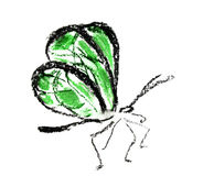 Green butterfly simple illustration. Green butterfly illustration on white background Royalty Free Stock Photo