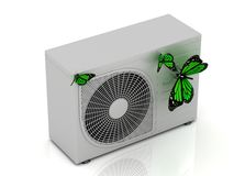 3 green butterfly sits on a new street conditioner Stock Images