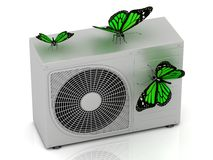 3 green butterfly sits on a street conditioner Stock Photography