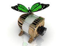Green butterfly sitting on a gold generator Stock Photos