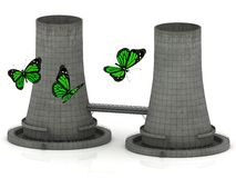 Green butterfly and two reinforced concrete cooling towers Stock Photos