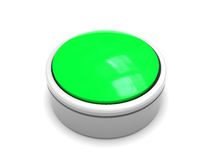 Green button. 3d illustration of green button over white background Stock Image