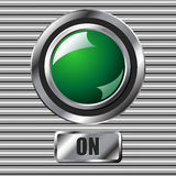 Green on button Stock Photography