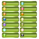 Green button collection with colorful glossy spheres Royalty Free Stock Photography