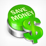 Green button with dollar. Green button with words save money and dollar, vector illustration Royalty Free Stock Photo
