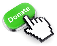Green button donate and hand cursor. Crowdfunding and internet charity and contribution concept. Green metallic button with text Donate and hand cursor isolated Royalty Free Stock Images